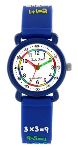 Pacific Time Kinder-Armbanduhr Rechnen 1x1 Analog Quarz blau 20554
