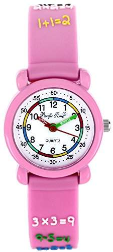 Pacific Time Kinder-Armbanduhr Rechnen 1x1 Analog Quarz rosa 20555