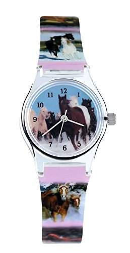 Pacific Time Kinder-Armbanduhr Pferde Wildpferde Analog Quarz mehrfarbig 20569