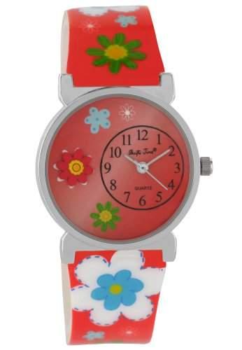 Pacific Time Kinder-Armbanduhr Jugenduhr Kunststoffarmband Analog Quarz Blumen Blueten 20631