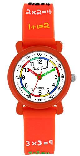 Pacific Time Kinder-Armbanduhr Rechnen 1x1 Analog Quarz orange 20693