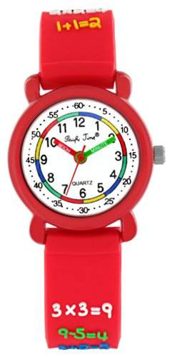 Pacific Time Kinder-Armbanduhr 1x1 Rechnen Analog Quarz rot 20695