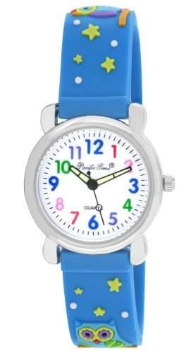 Pacific Time Kinder-Armbanduhr bunte Eulen Analog Quarz blau 20791