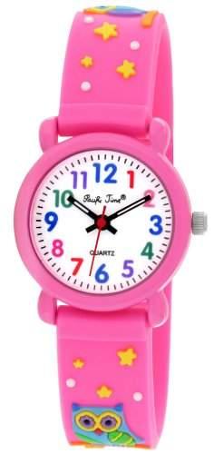 Pacific Time Kinder-Armbanduhr Lernuhr Silikon Analog Quarz pink Eule 20793