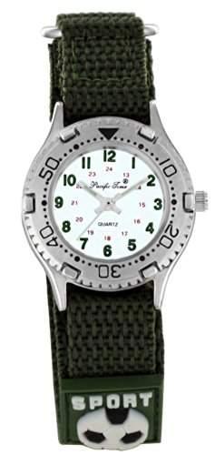 Pacific Time Kinder-Armbanduhr Klettarmband Fussball Analog Quarz gruen 20798