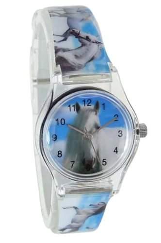 Pacific Time Kinder-Armbanduhr Pferde ueber den Wolken Analog Quarz blau weiss 20811