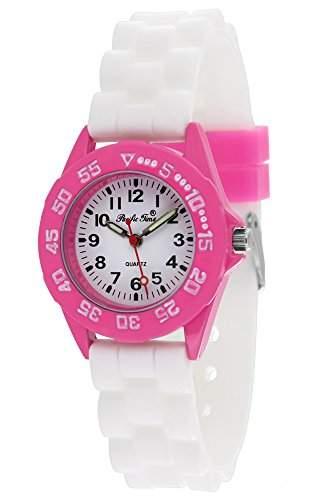 Pacific Time Unisex-Armbanduhr Jugenduhr Softgummi Silikon Analog Quarz pink weiss 21087