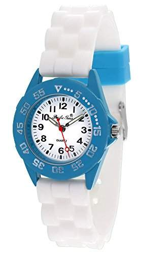 Pacific Time Unisex-Armbanduhr Jugenduhr Softgummi Silikon Analog Quarz tuerkis weiss 21089