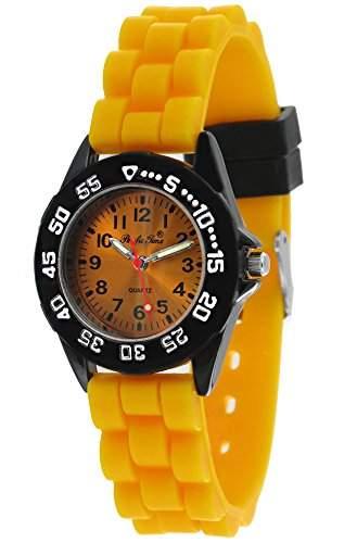 Pacific Time Unisex-Armbanduhr Jugenduhr Softgummi Silikon Analog Quarz schwarz gelb 21090