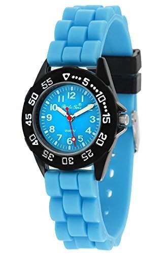 Pacific Time Unisex-Armbanduhr Jugenduhr Softgummi Silikon Analog Quarz schwarz tuerkis 21091