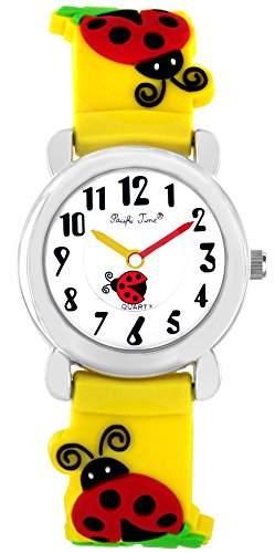 Pacific Time Kinder-Armbanduhr Marienkaefer Gluecksklee Analog Quarz gelb 21444