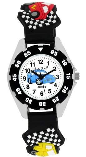 Pacific Time Kinder-Armbanduhr Autos Rallye Rennwagen Analog Quarz schwarz 21479