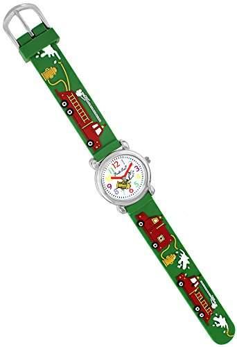 Pacific Time Kinder-Armbanduhr Feuerwehr Auto Quarz gruen 21358