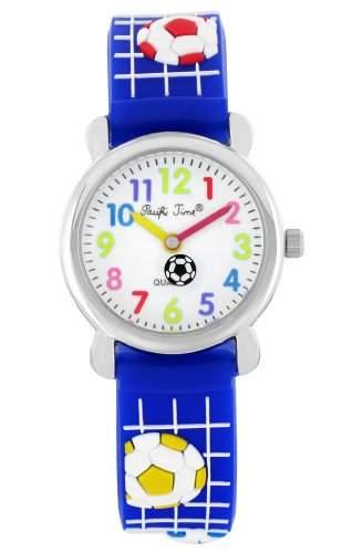 Pacific Time Kinder-Armbanduhr Fussball Analog Quarz blau 21869