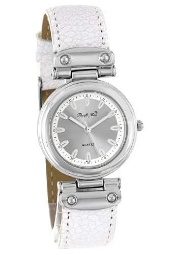 Pacific Time Damen-Armbanduhr Lederarmband gepraegt Analog Quarz silber weiss 22109