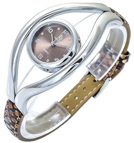 Crystal Blue Damenuhr Braun Silber Analog Metall Leder Armbanduhr Quarz Uhr