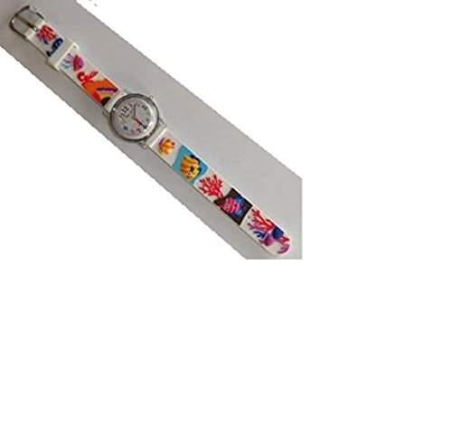 Pacific Time Kinder-Armbanduhr Analog Quarz weiss 20632 Fisch Design