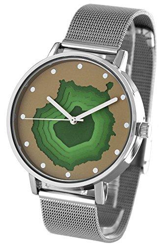Pacific Time mit 3D Relief Zifferblatt Milanaise Armband Urlaub Gran Canaria Analog Quarz beige gruen silber 20408