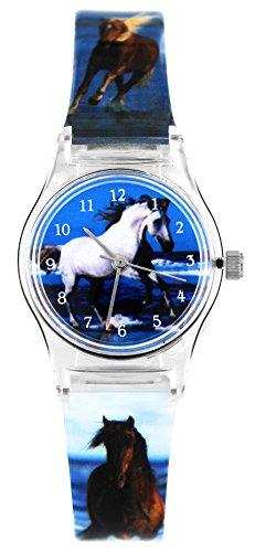 Pacific Time Pferd am Meer Analog Quarz blau weiss 20810