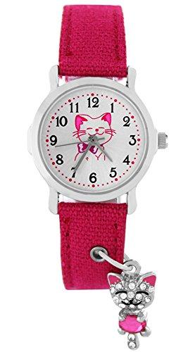 Pacific Time fuer Maedchen und Teenager Katze Strass Anhaenger Charm Textilarmband Analog Quarz rosa pink 86279