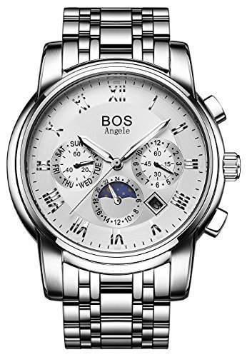 BOS Herren Mechanische Silber-Tone Schwarzes Zifferblatt Edelstahl Wasserdichte Uhr mit Gliederarmband
