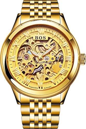 BOS Herren Automatic Self-Mechanisches Skeleton Goldkasten-Armbanduhr mit Edelstahl Band