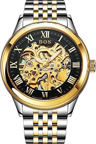 BOS Herren Automatische Uhr mit Selbstaufzug Mechanische Skeleton Gold Gehaeuse Zifferblatt schwarz Edelstahl Band