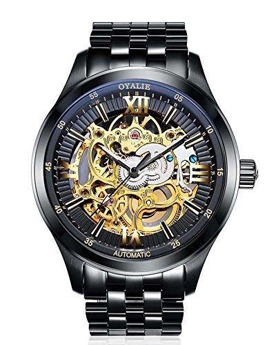 Armbanduhr Herren wasserdicht Skelett schwarzes Ziffernblatt aus Edelstahl