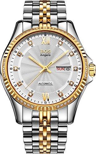 BOS 9012 mechanisch strukturiert Zifferblatt Weiss Gehaeuse goldfarben Armband Edelstahl