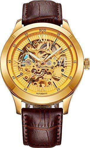 BOS Automatik mechanischen Wasserdicht Skeleton goldene Uhr mit Brown Lede Band