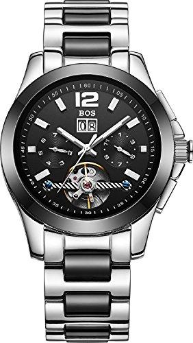 BOS Herren Automatische Mechanische Selbst Wind Chronograph Edelstahl Wasserdicht Armbanduhr 9001