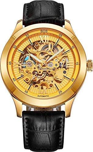 BOS Herren Automatische self wind Mechanische Wasserdicht Skelett Gold Uhr mit Schwarz Leder Band 9008