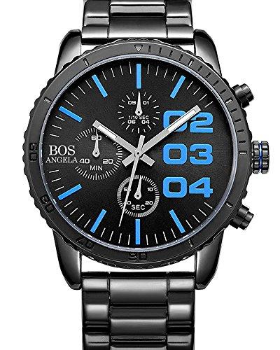 BOS Herren Quarz Analog Armbanduhr Chronograph Edelstahl Band Blau 8013