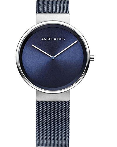 BOS Frauen ultra duenne einfache Zifferblatt Quartz Armbanduhr mit Mesh Edelstahlband 8010 Blau
