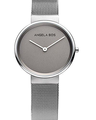 BOS Frauen ultra duenne einfache Zifferblatt Quartz Armbanduhr mit Mesh Edelstahlband 8010 Grau