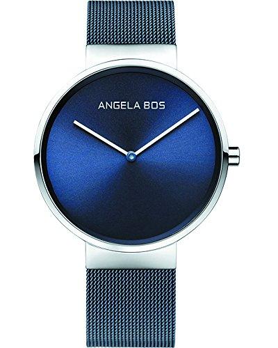 BOS Herren Ultra duennen einfachen Zifferblatt Quartz Armbanduhr mit Mesh Edelstahlband 8010 blau