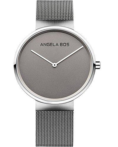 BOS Herren Ultra duennen einfachen Zifferblatt Quartz Armbanduhr mit Mesh Edelstahlband 8010 Grau