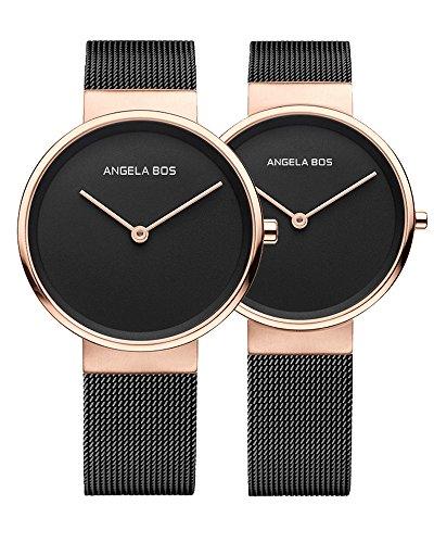 BOS Paar Uhren Ultra duennen einfachen Zifferblatt Quartz Armbanduhr mit Mesh Edelstahlband fuer sie oder seine 8010 schwarz