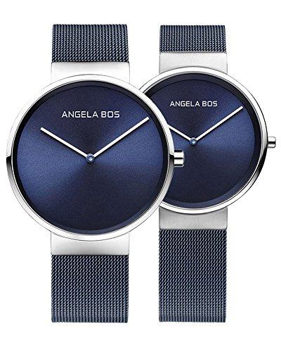 BOS Paar Uhren Ultra duennen einfachen Zifferblatt Quartz Armbanduhr mit Mesh Edelstahlband fuer sie oder seine 8010 Blau