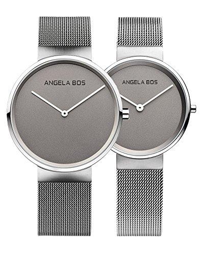 BOS Paar Uhren Ultra duennen einfachen Zifferblatt Quartz Armbanduhr mit Mesh Edelstahlband fuer sie oder seine 8010 Grau