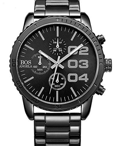 BOS Herren Quarz Analog Armbanduhr Chronograph Edelstahlband Schwarz 8013