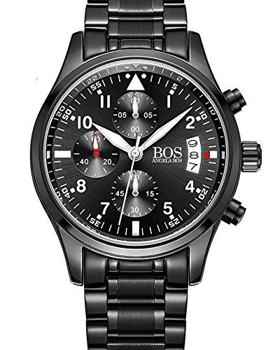 BOS Sport Herren Quarz Uhr mit schwarzem Zifferblatt Chronograph Display und Edelstahl Armband Weiss