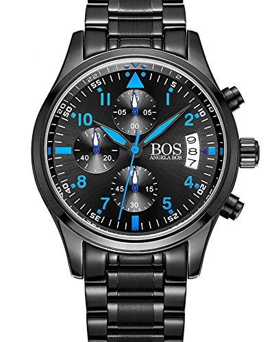 BOS Sport Herren Quarz Uhr mit schwarzem Zifferblatt Chronograph Display und Edelstahl Armband blau