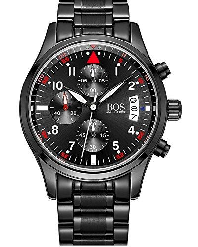 BOS Sport Herren Quarz Uhr mit schwarzem Zifferblatt Chronograph Display und Edelstahl Armband Rot