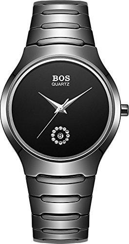 BOS Herren ukseller Schutzschale Schwarz Einfach Japanische Quarz Wasserdicht Armbanduhr 8005
