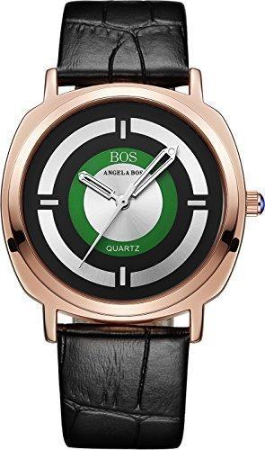 BOS Damen Japanisches Quarz Analog quadratisch Edelstahl Fall Armbanduhr Leder Band schwarz