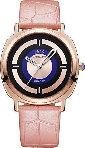 BOS Damen Japanisches Quarz Analog quadratisch Edelstahl Fall Armbanduhr Leder Band Pink