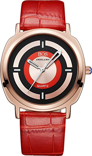 BOS Damen Japanisches Quarz Analog quadratisch Edelstahl Fall Armbanduhr Leder Band rot