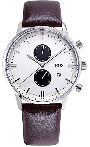 BOS Herren Multifunktions Weiss Zifferblatt Edelstahl Wasserdicht Quarz Uhr mit Braun Leder Band 8001