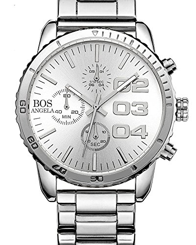 BOS Chronograph Edelstahl Band Weiss 8013 der Maenner